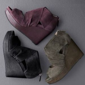 Eileen Fisher Draw Draped Suede Wedge